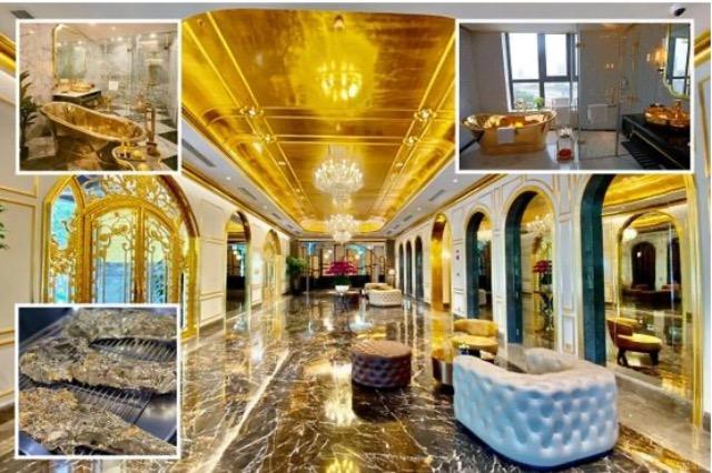 Hoteli i parë në botë me vaskat,tualetet, madje edhe bërxollat të lara në ar