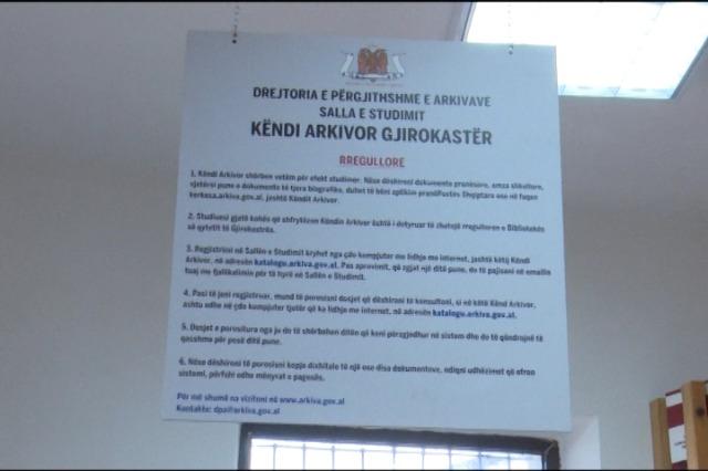 Gjirokatër, Këndi Arkivor, në funksion të banorëve të qarkut për studim të dokumenteve