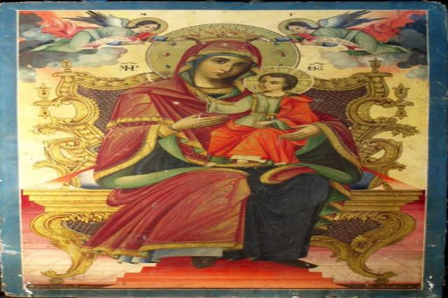 """""""Shën Mëria në fron me Krishtin"""", Ikona e kishës së Sinicës në Korçë u pikturua në fund të shekullit XIX"""