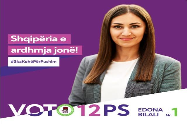 Kryeministri Rama uron ditë të mbarë me fjalimin e kandidates së PS në Shkodër, Edona Bilali