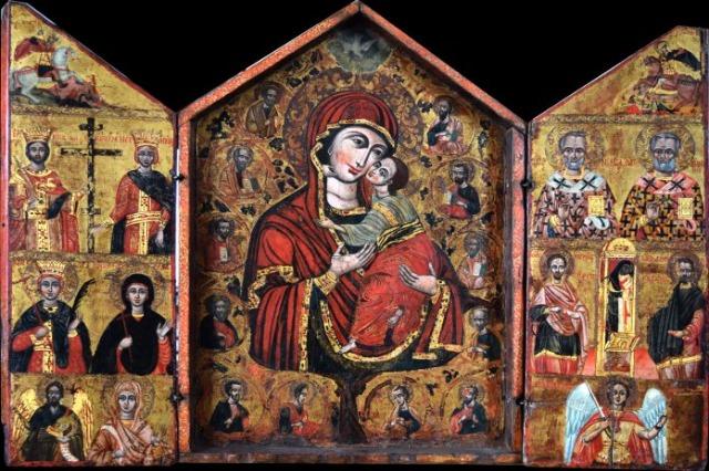 Triptik me Shën Mërinë, Profetë dhe Shenjtorë, ikona e pikturuar nga ikonogarfi i njohur Cetiri