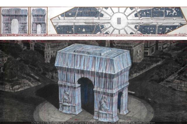Harku i triumfit mbështillet me pëlhurë në kujtim të arkitetit bullgar Christos